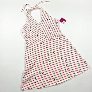NWT Red Stripes Blue Stars Halter Dress Size XXL